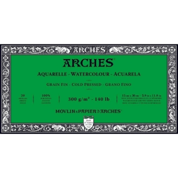 Picture of Arches Watercolor Paper Block Cold Pressed 300gsm 15x30cm 5.9x11.8inch