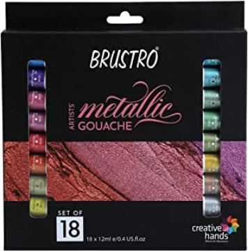 Picture of Brustro Artists Metallic Gouache Colour Set 18x12ml