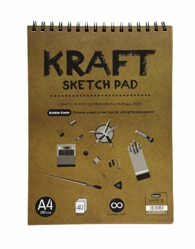 Picture of Scholar Spiral Kraft Sketch Pad A4 180gsm  40 Sh