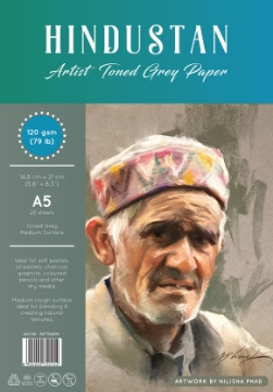 """Picture of Hindustan Toned Grey Paper 120 gsm A5 14.8""""x 21"""" 20 Sheets"""