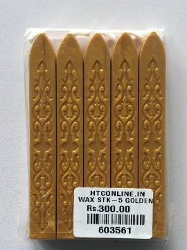 Picture of HTC Square Wax Stick Set Of 5 - Gold
