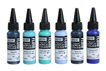 Picture of Brustro Professional Artists Fluid Acrylic 20 ml Beyond The Blues Pack of 6